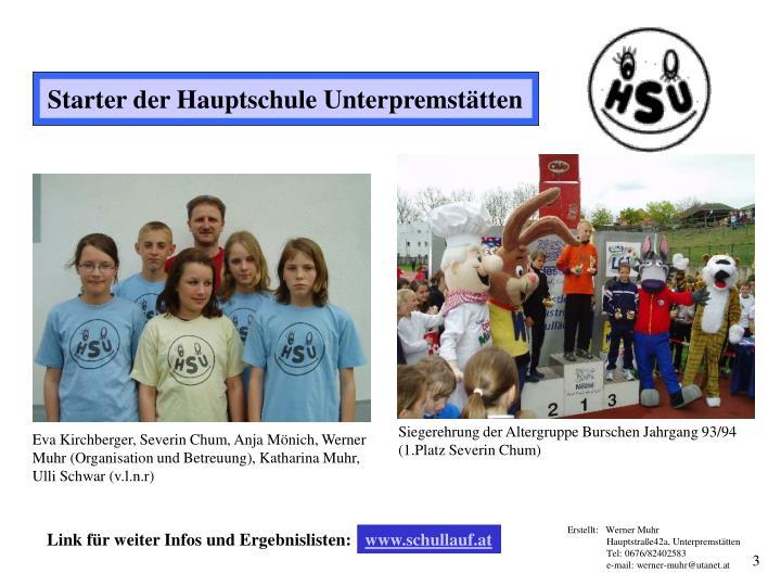 Siegerehrung der Altergruppe Burschen Jahrgang 93/94 (1.Platz Severin Chum)