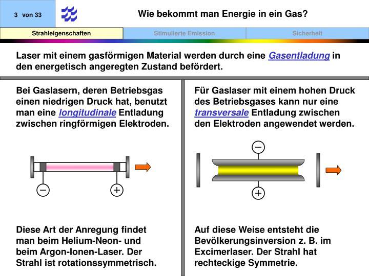 Wie bekommt man Energie in ein Gas?