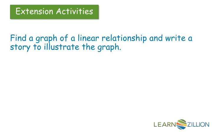 Find a graph of a linear relationship and write a story to illustrate