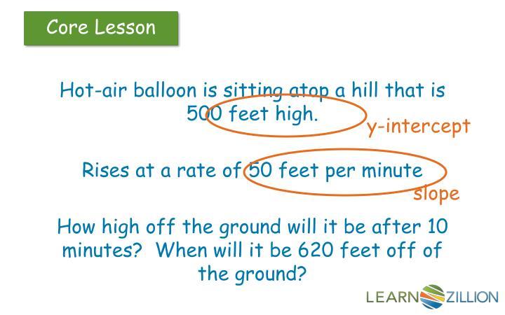 Hot-air balloon is sitting atop a hill that is 500 feet high.