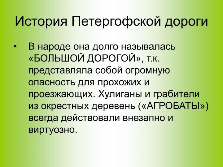 История Петергофской дороги