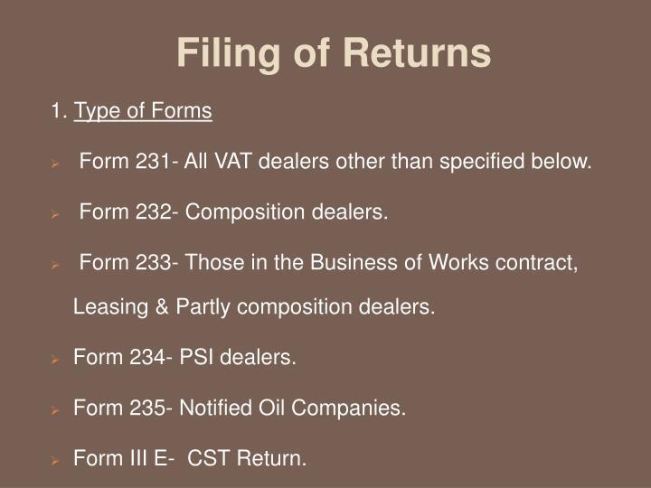 Filing of Returns