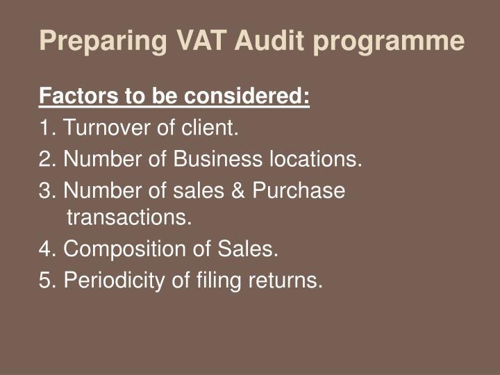 Preparing VAT Audit