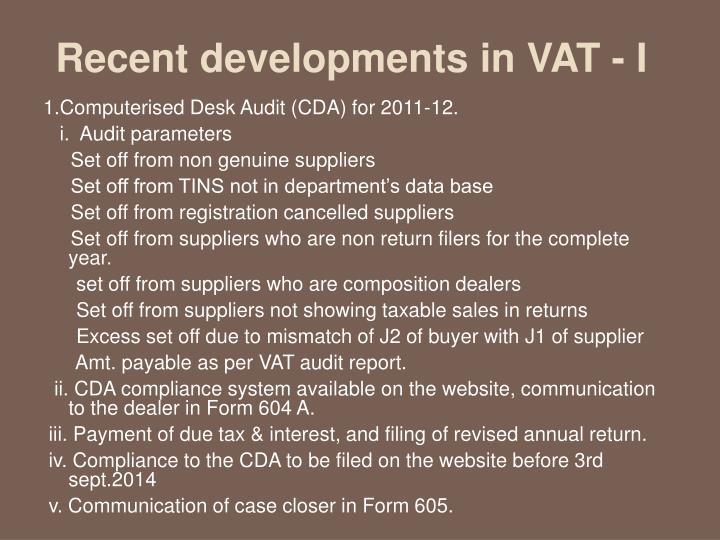 Recent developments in VAT - I