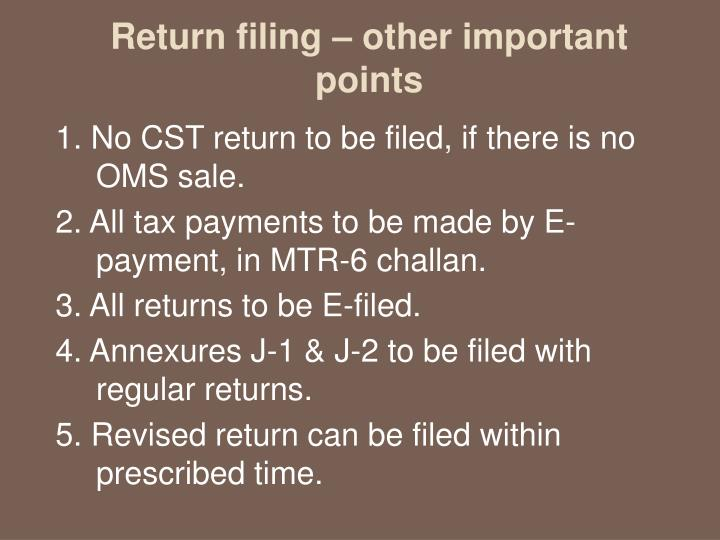 Return filing – other important points