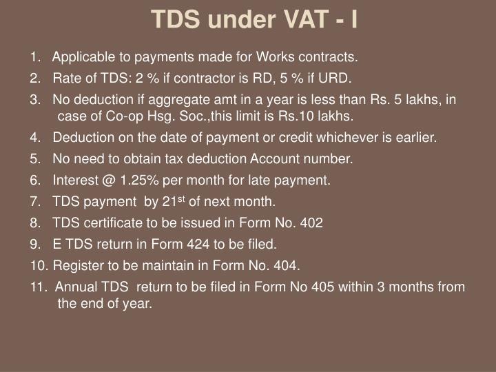 TDS under VAT - I
