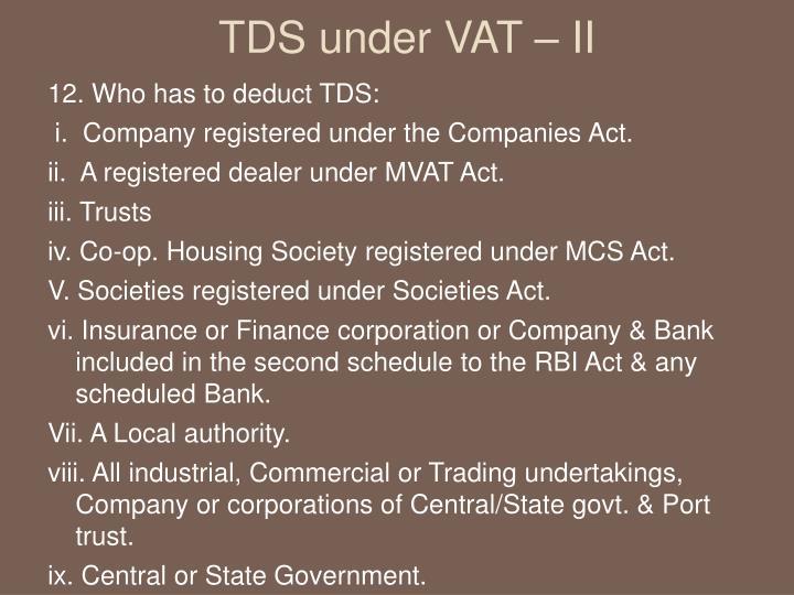 TDS under VAT – II