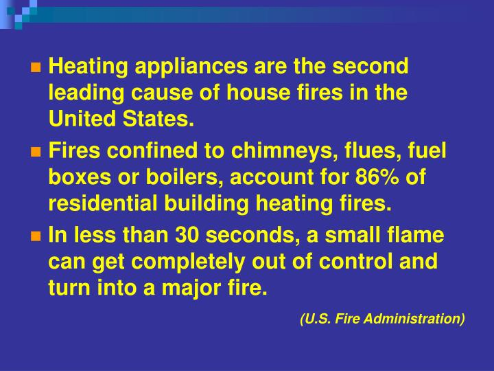 Heating appliances are the second leading cause of house fires in the United States.