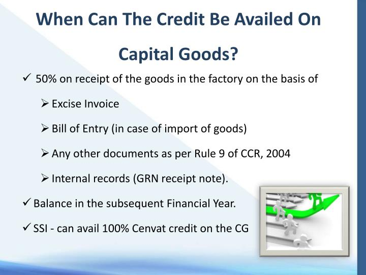 When Can The Credit Be Availed On Capital Goods?