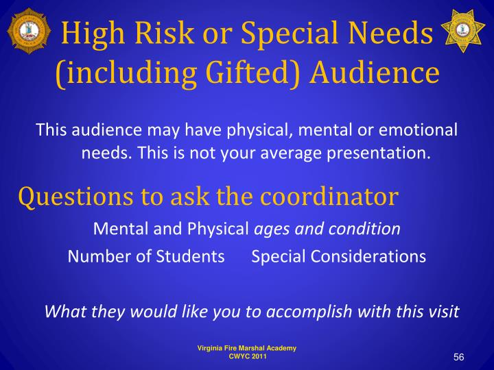 High Risk or Special Needs