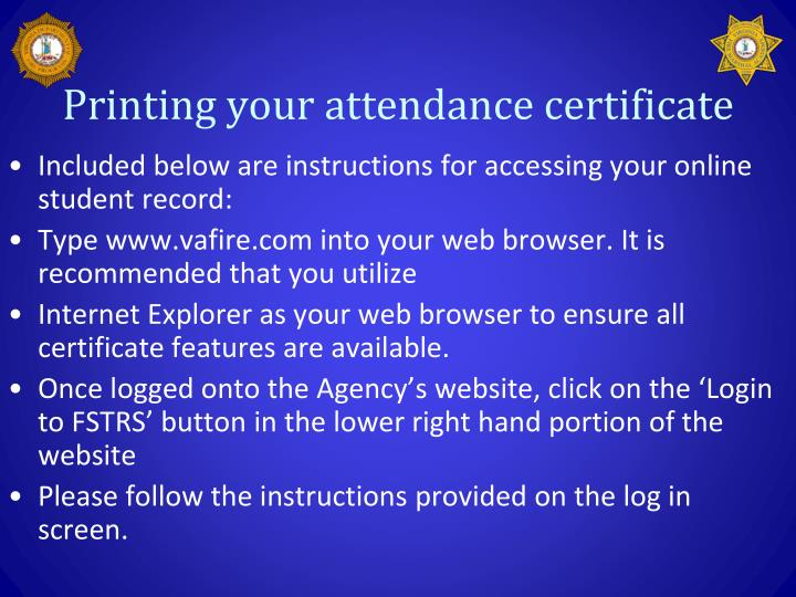 Printing your attendance certificate