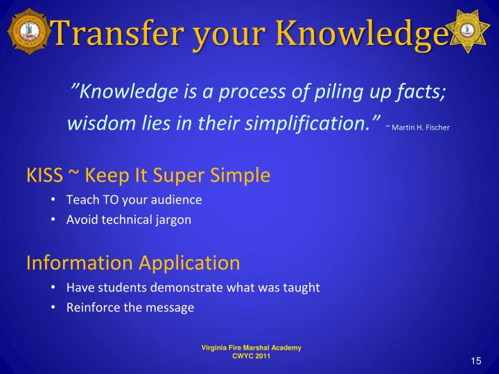Transfer your Knowledge