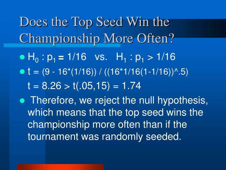 Does the Top Seed Win the Championship More Often?