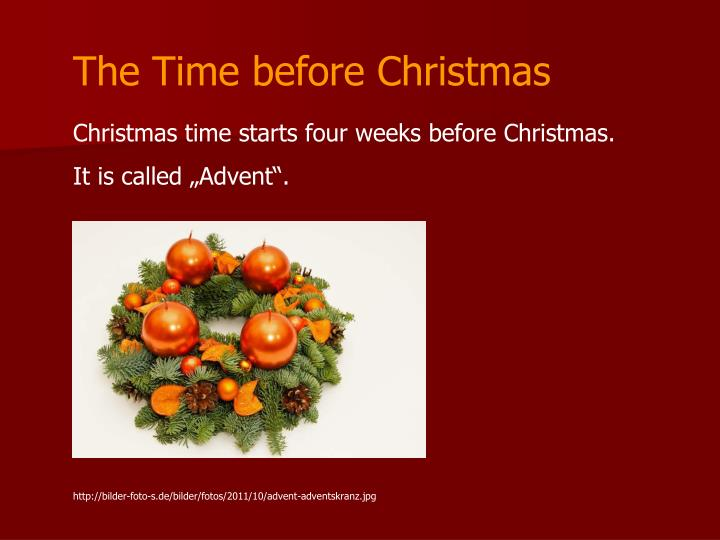 The Time before Christmas