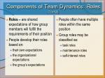 components of team dynamics roles 1 of 3
