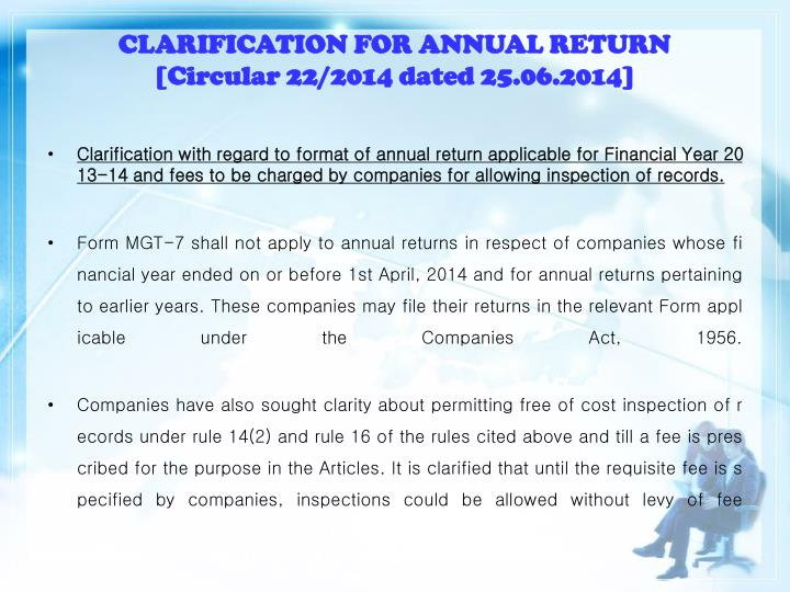 CLARIFICATION FOR ANNUAL RETURN