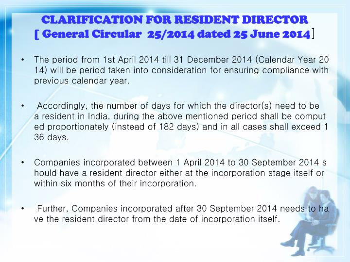CLARIFICATION FOR RESIDENT DIRECTOR