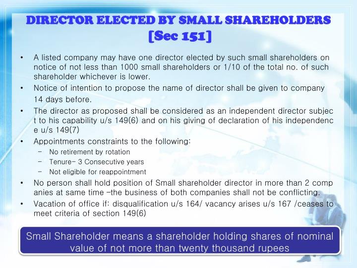 DIRECTOR ELECTED BY SMALL SHAREHOLDERS
