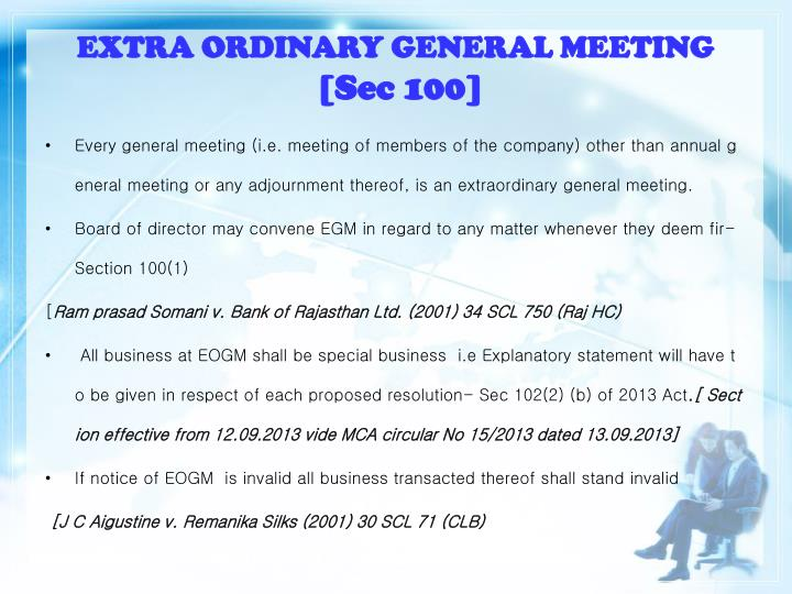 EXTRA ORDINARY GENERAL MEETING