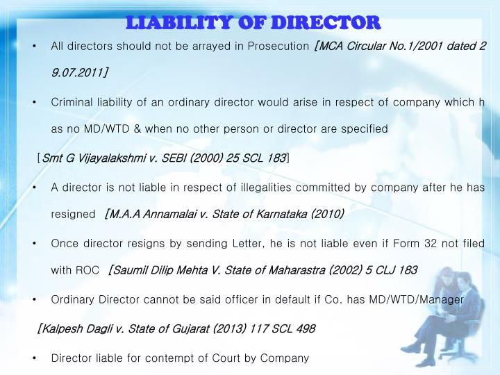 LIABILITY OF DIRECTOR