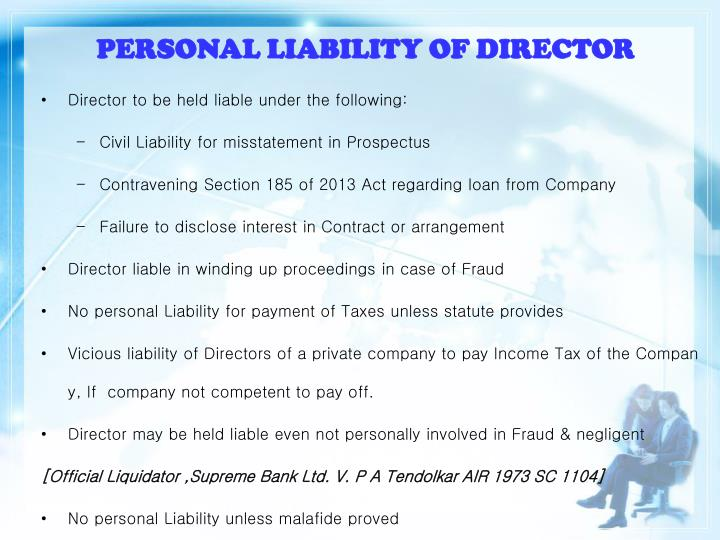 PERSONAL LIABILITY OF DIRECTOR