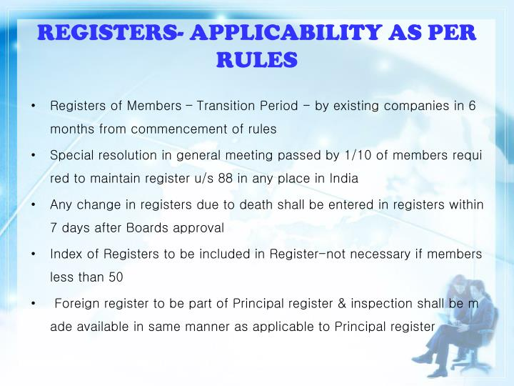 REGISTERS- APPLICABILITY AS PER RULES