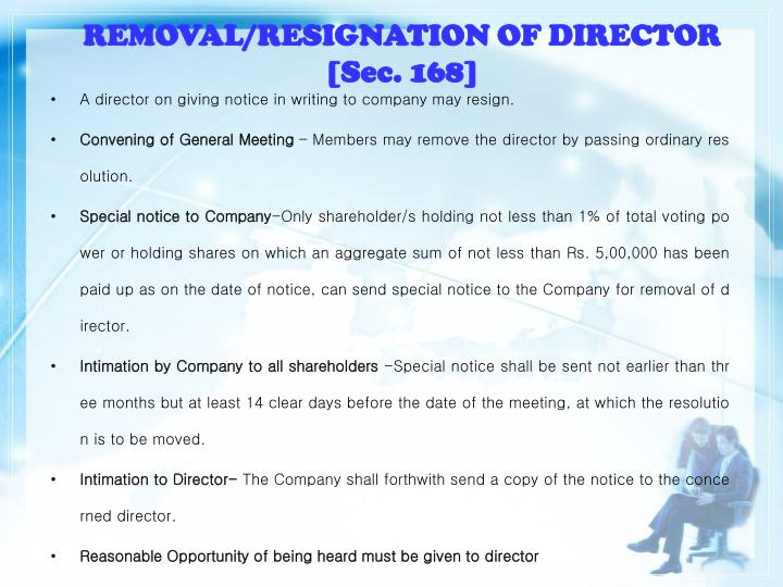 REMOVAL/RESIGNATION OF DIRECTOR