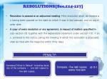 resolutions sec 114 117