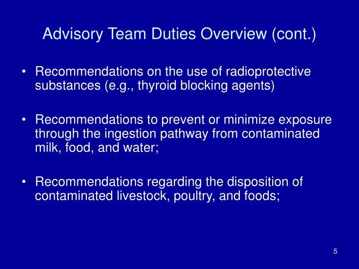 Advisory Team Duties Overview (cont.)