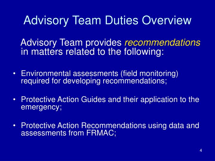 Advisory Team Duties Overview