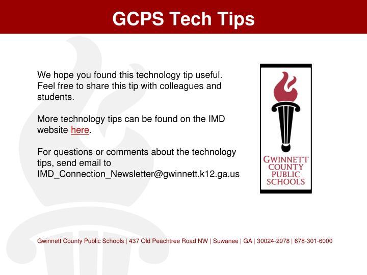 GCPS Tech Tips