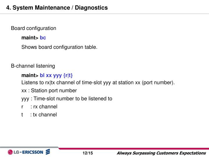 4. System Maintenance / Diagnostics