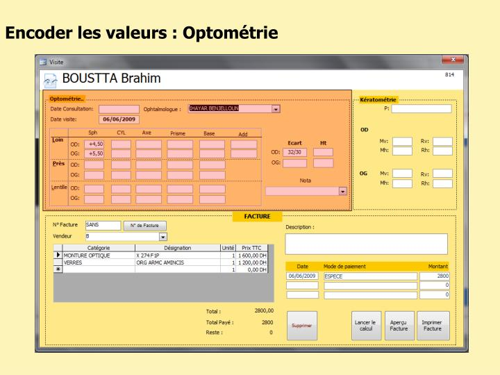Encoder les valeurs : Optométrie