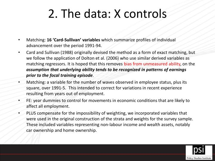 2. The data: X controls