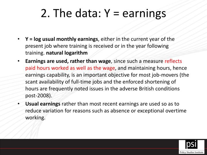 2. The data: Y = earnings