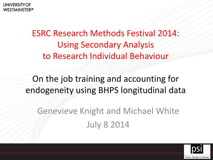 ESRC Research Methods Festival 2014: