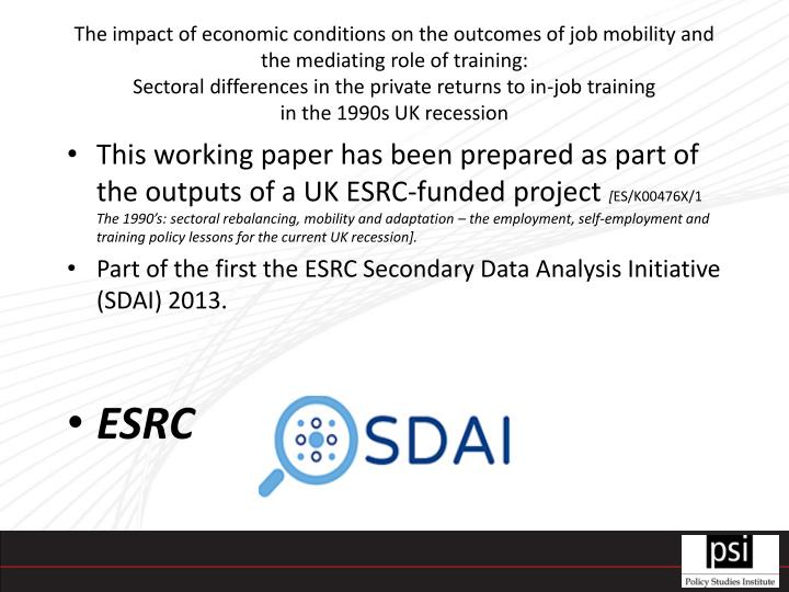 The impact of economic conditions on the outcomes of job mobility and the mediating role of training: