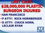 last case 28 000 000 plastic surgeon injured