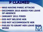 p claimed