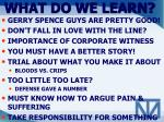 what do we learn