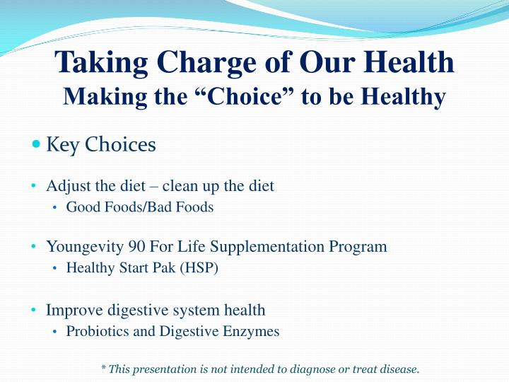Taking Charge of Our Health