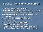 dates to note first communion
