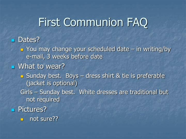 First Communion FAQ