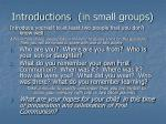 introductions in small groups