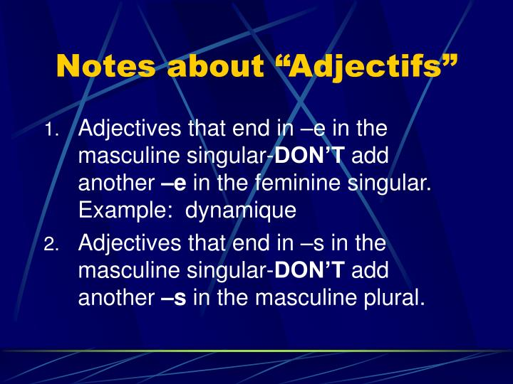 Notes about adjectifs