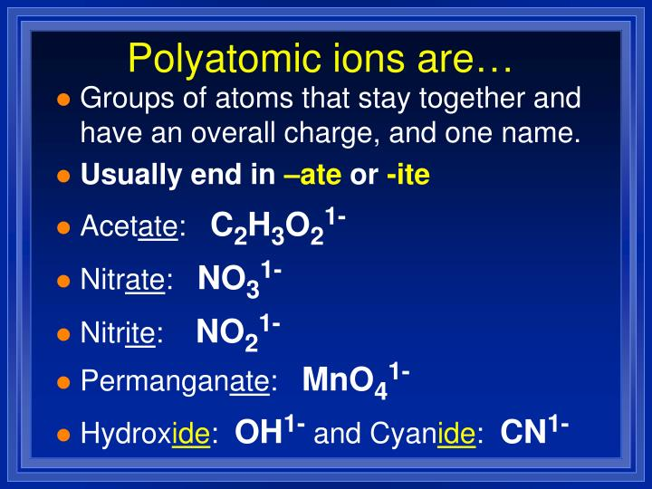 Polyatomic ions are…