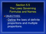 section 5 5 the laws governing formulas and names