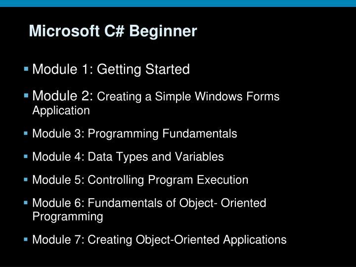 Microsoft C# Beginner