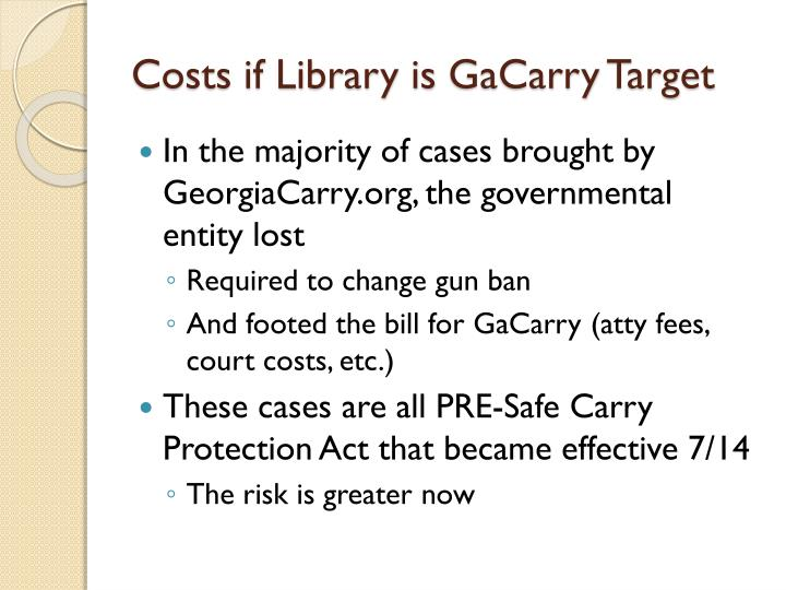 Costs if Library is