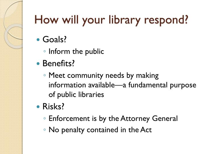 How will your library respond?